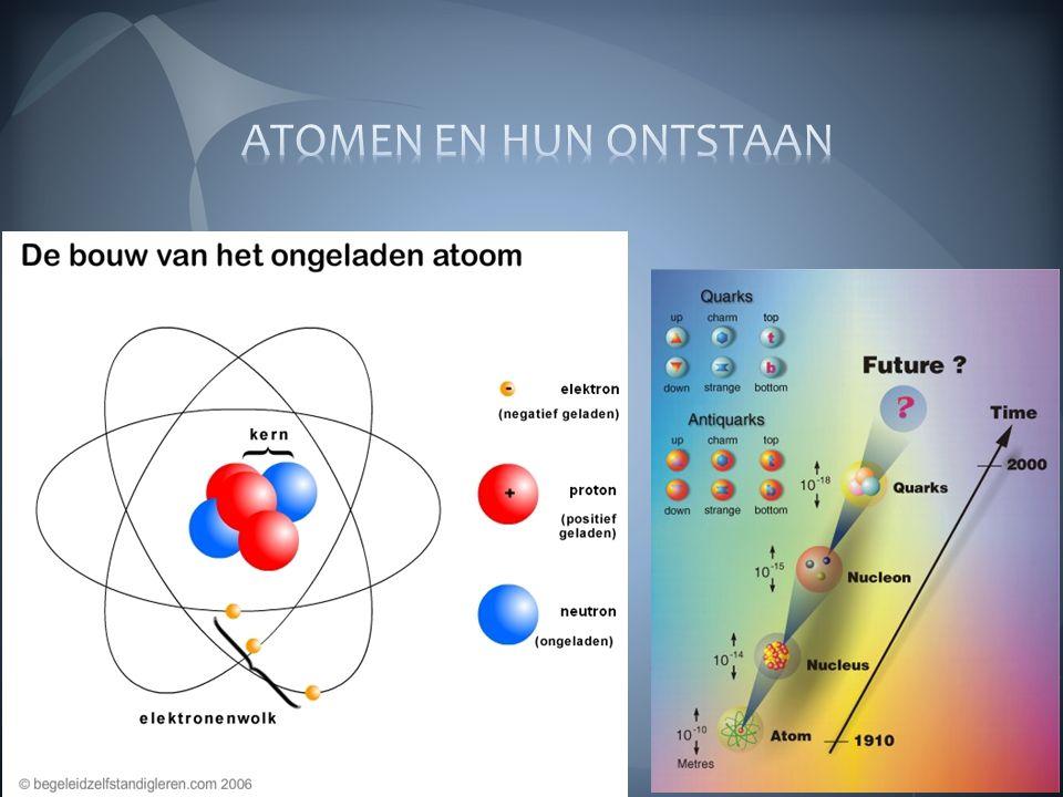 In begin : soep van quarks: meest elementaire deeltjes die we kennen Geen atoomkern Geen protonen Geen neutronen Bij afkoelen samenklonteren quarks  protonen en neutronen  waterstof, Helium en lithium Beryllium tot uranium miljarden jaren later gevormd