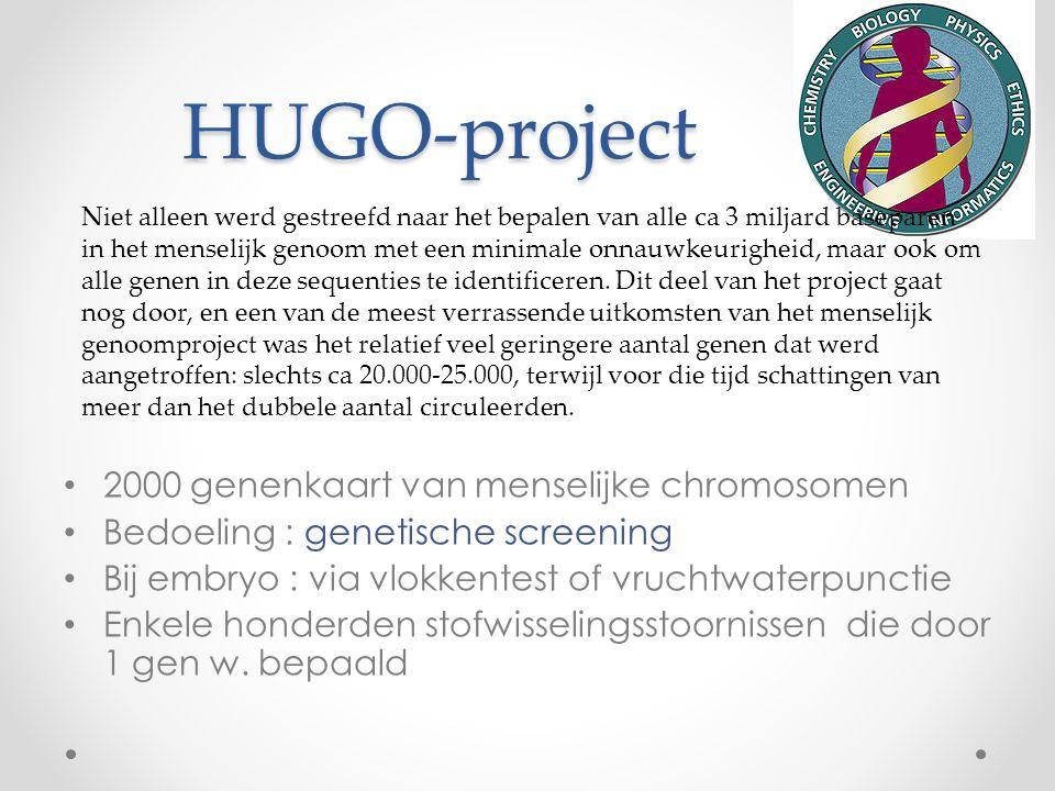 HUGO-project 2000 genenkaart van menselijke chromosomen Bedoeling : genetische screening Bij embryo : via vlokkentest of vruchtwaterpunctie Enkele hon