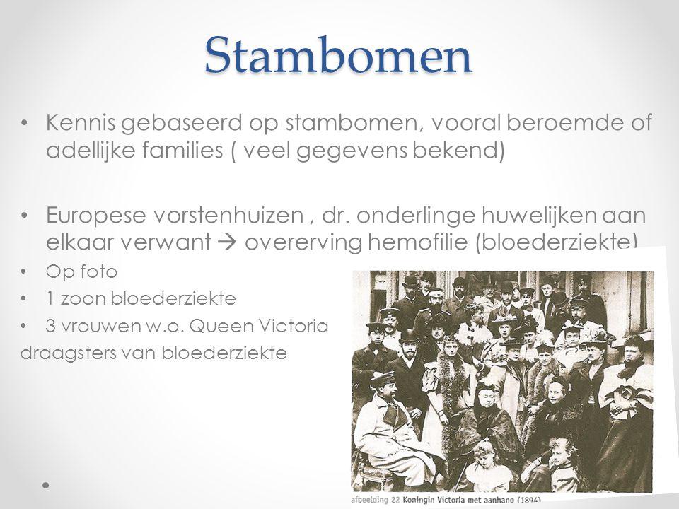 Stambomen Kennis gebaseerd op stambomen, vooral beroemde of adellijke families ( veel gegevens bekend) Europese vorstenhuizen, dr. onderlinge huwelijk
