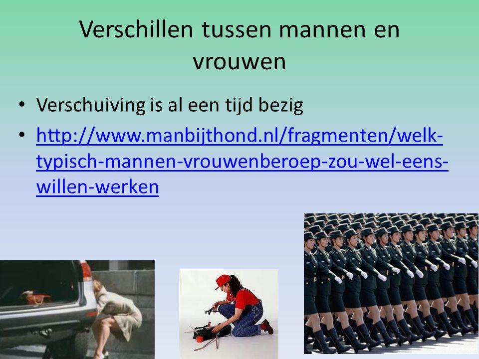 Verschillen tussen mannen en vrouwen Verschuiving is al een tijd bezig http://www.manbijthond.nl/fragmenten/welk- typisch-mannen-vrouwenberoep-zou-wel-eens- willen-werken http://www.manbijthond.nl/fragmenten/welk- typisch-mannen-vrouwenberoep-zou-wel-eens- willen-werken