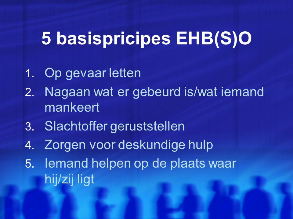 5 basispricipes EHB(S)O 1.Op gevaar letten 2. Nagaan wat er gebeurd is/wat iemand mankeert 3.