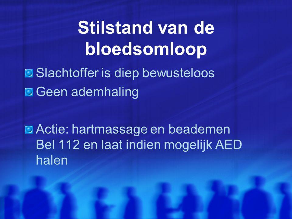 Stilstand van de bloedsomloop Slachtoffer is diep bewusteloos Geen ademhaling Actie: hartmassage en beademen Bel 112 en laat indien mogelijk AED halen