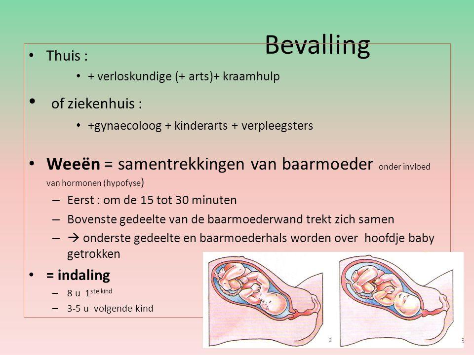 Bevalling Thuis : + verloskundige (+ arts)+ kraamhulp of ziekenhuis : +gynaecoloog + kinderarts + verpleegsters Weeën = samentrekkingen van baarmoeder