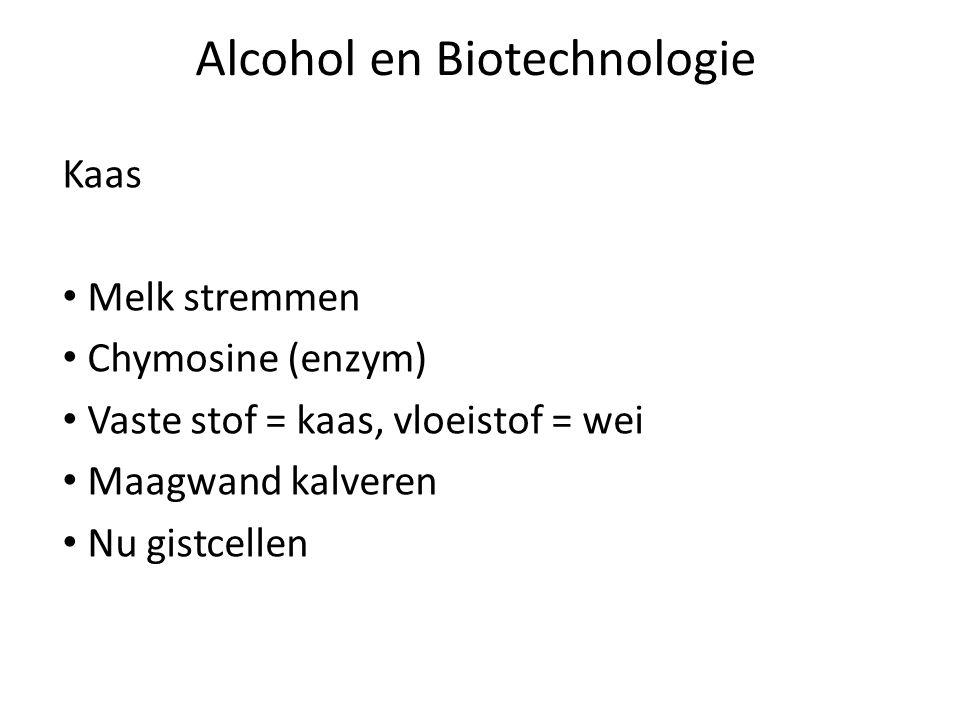 Alcohol en Biotechnologie Kaas Melk stremmen Chymosine (enzym) Vaste stof = kaas, vloeistof = wei Maagwand kalveren Nu gistcellen