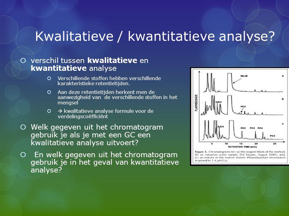 Kwalitatieve / kwantitatieve analyse?  verschil tussen kwalitatieve en kwantitatieve analyse  Verschillende stoffen hebben verschillende karakterist