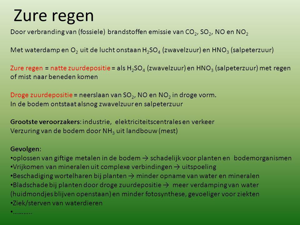 Zure regen Door verbranding van (fossiele) brandstoffen emissie van CO 2, SO 2, NO en NO 2 Met waterdamp en O 2 uit de lucht onstaan H 2 SO 4 (zwavelz
