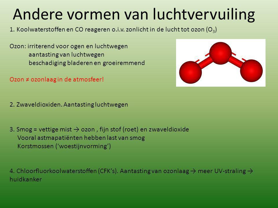 Andere vormen van luchtvervuiling 1. Koolwaterstoffen en CO reageren o.i.v. zonlicht in de lucht tot ozon (O 3 ) Ozon: irriterend voor ogen en luchtwe
