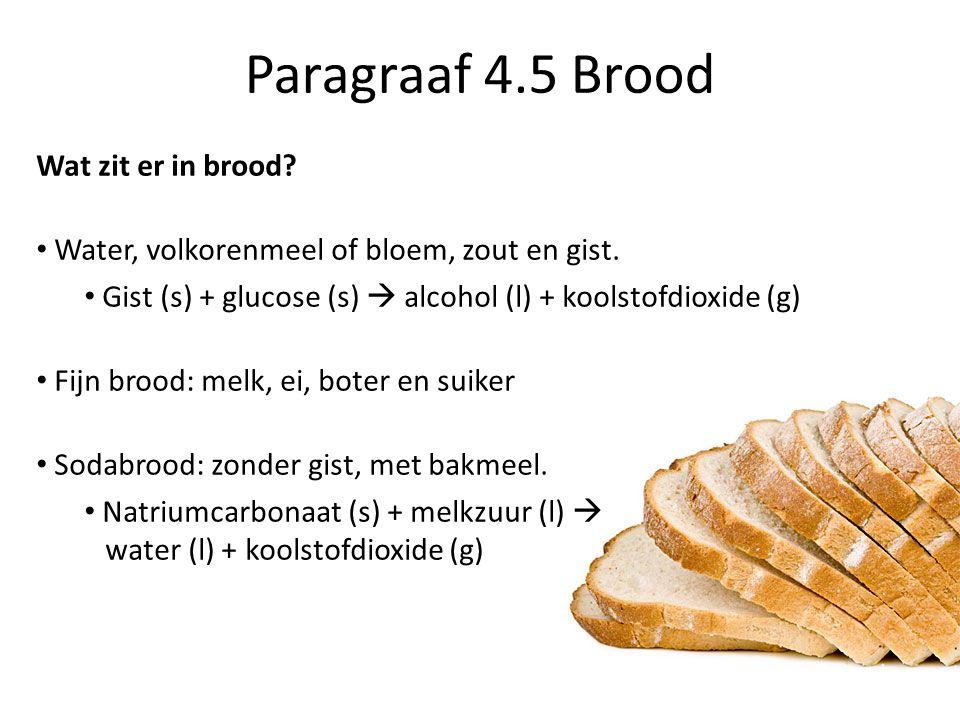 Paragraaf 4.5 Brood Wat zit er in brood. Water, volkorenmeel of bloem, zout en gist.