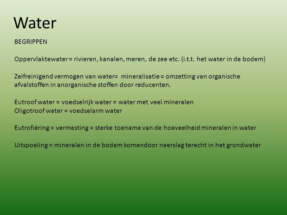 Water BEGRIPPEN Oppervlaktewater = rivieren, kanalen, meren, de zee etc. (i.t.t. het water in de bodem) Zelfreinigend vermogen van water= mineralisati