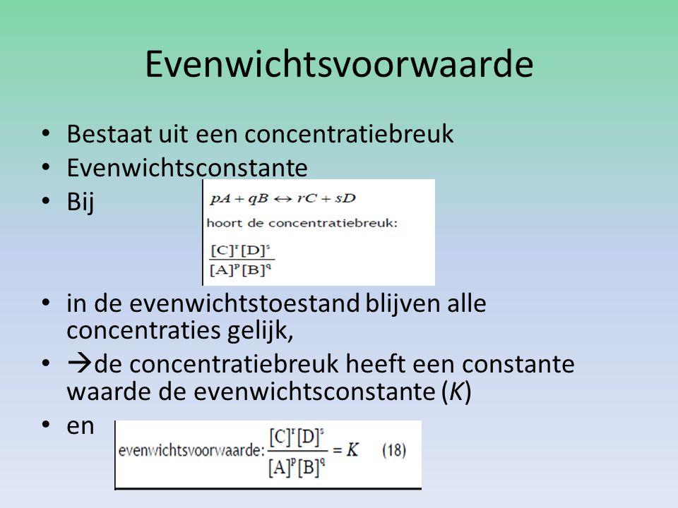 Evenwichtsvoorwaarde Bestaat uit een concentratiebreuk Evenwichtsconstante Bij in de evenwichtstoestand blijven alle concentraties gelijk,  de concentratiebreuk heeft een constante waarde de evenwichtsconstante (K) en