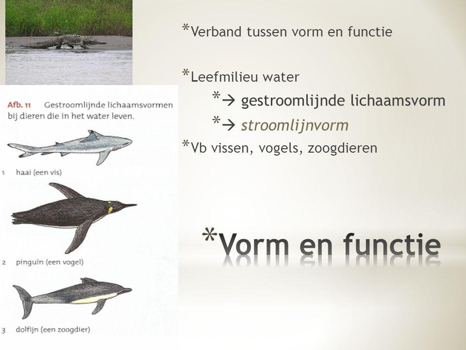 * Verband tussen vorm en functie * Leefmilieu water *  gestroomlijnde lichaamsvorm *  stroomlijnvorm * Vb vissen, vogels, zoogdieren