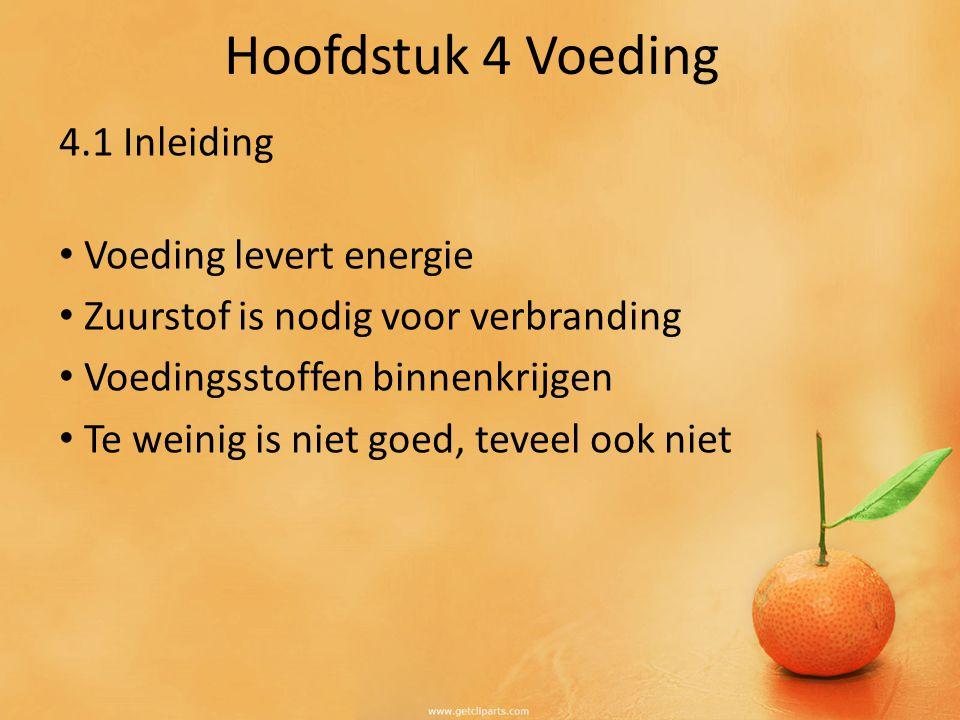 4.1 Inleiding Voeding levert energie Zuurstof is nodig voor verbranding Voedingsstoffen binnenkrijgen Te weinig is niet goed, teveel ook niet