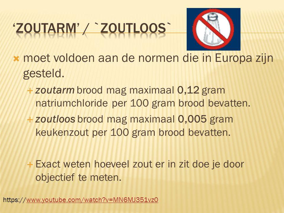  moet voldoen aan de normen die in Europa zijn gesteld.  zoutarm brood mag maximaal 0,12 gram natriumchloride per 100 gram brood bevatten.  zoutloo
