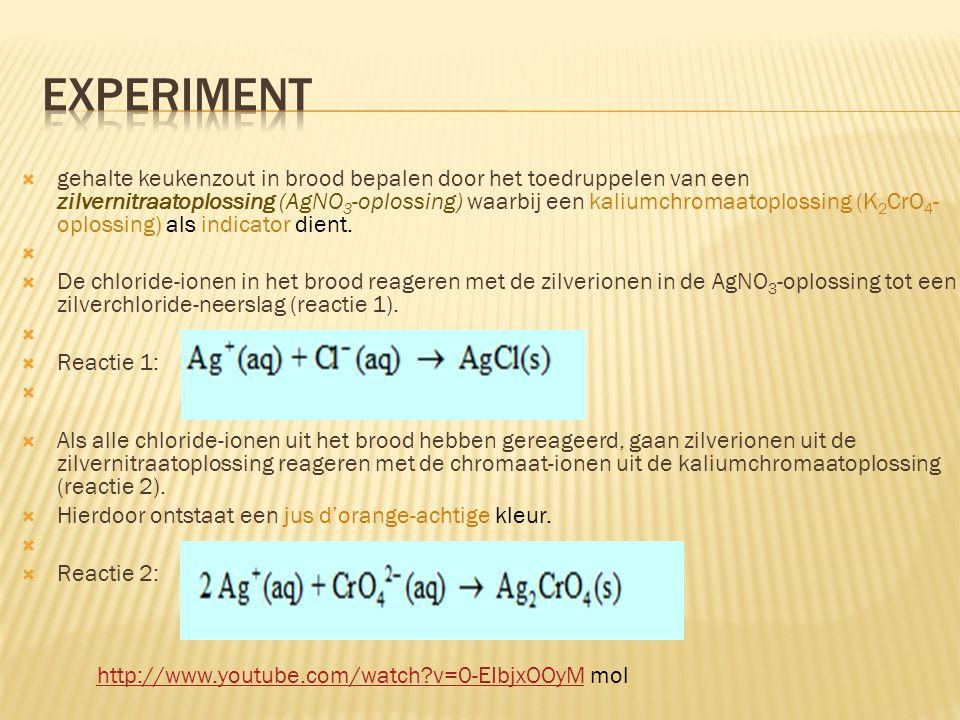  gehalte keukenzout in brood bepalen door het toedruppelen van een zilvernitraatoplossing (AgNO 3 -oplossing) waarbij een kaliumchromaatoplossing (K 2 CrO 4 - oplossing) als indicator dient.