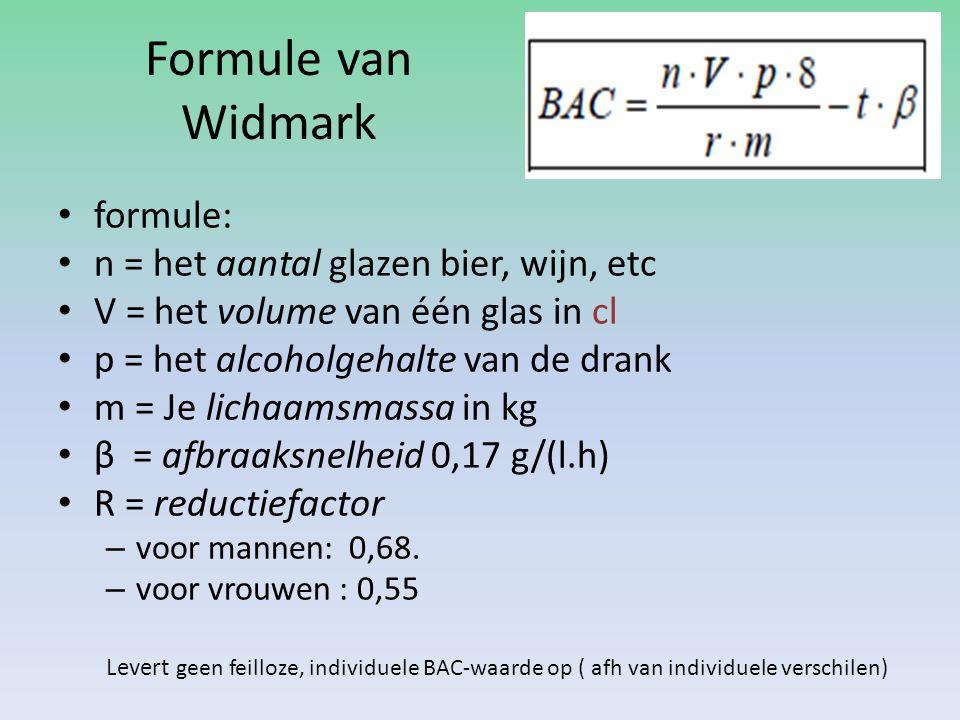 Formule van Widmark formule: n = het aantal glazen bier, wijn, etc V =het volume van één glas in cl p = het alcoholgehalte van de drank m = Je lichaam