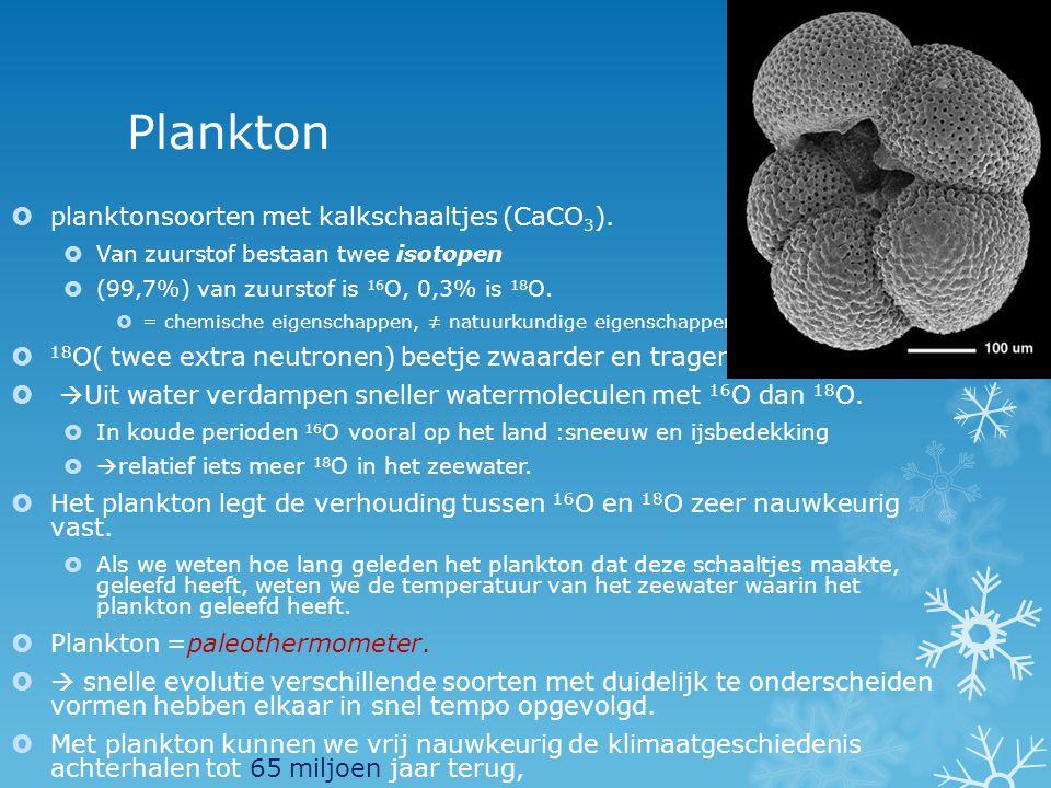 Plankton  planktonsoorten met kalkschaaltjes (CaCO 3 ).  Van zuurstof bestaan twee isotopen  (99,7%) van zuurstof is 16 O, 0,3% is 18 O.  = chemis