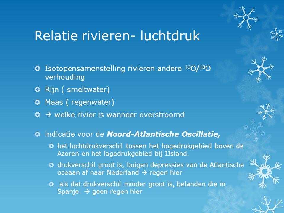 Relatie rivieren- luchtdruk  Isotopensamenstelling rivieren andere 16 O/ 18 O verhouding  Rijn ( smeltwater)  Maas ( regenwater)   welke rivier i