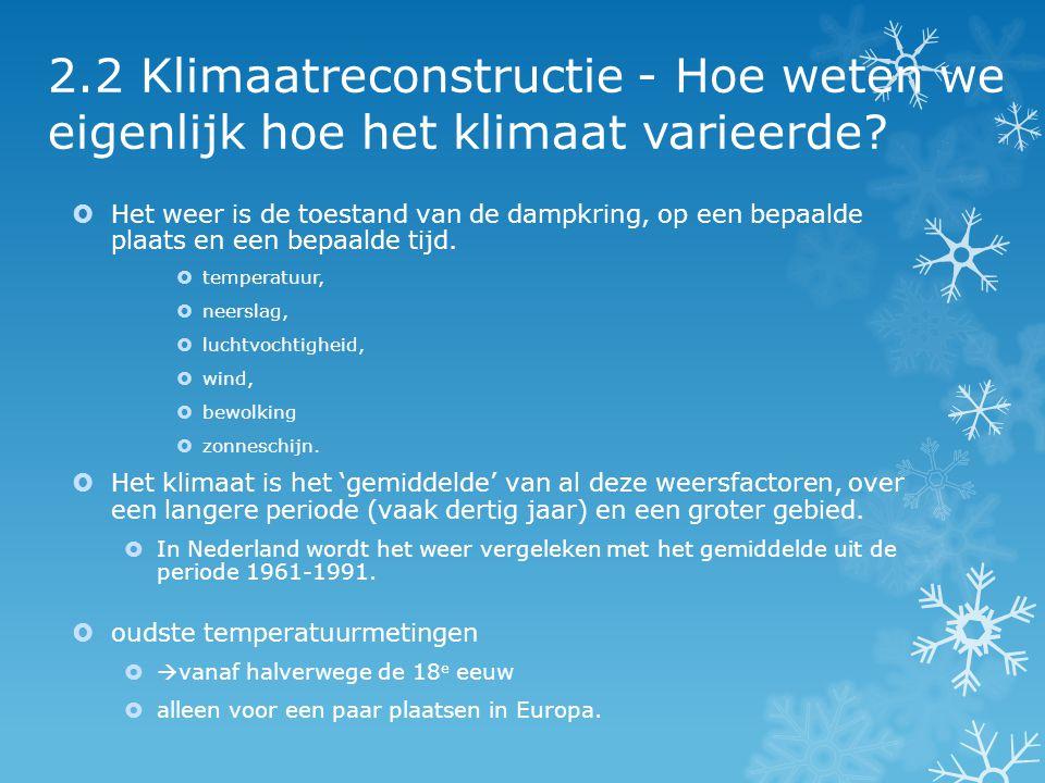 2.2 Klimaatreconstructie - Hoe weten we eigenlijk hoe het klimaat varieerde?  Het weer is de toestand van de dampkring, op een bepaalde plaats en een