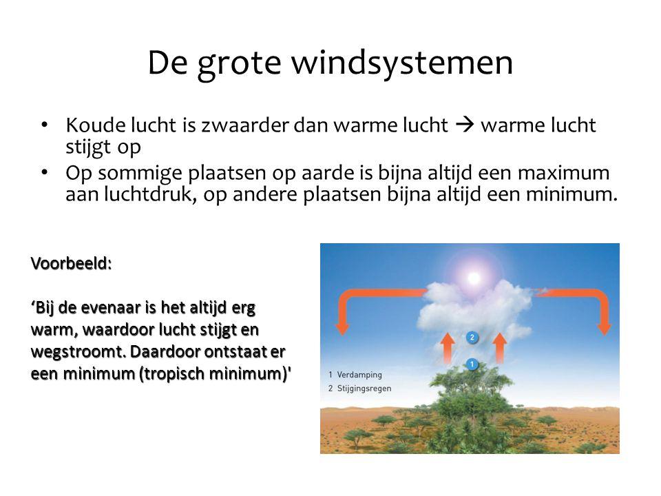 De grote windsystemen Koude lucht is zwaarder dan warme lucht  warme lucht stijgt op Op sommige plaatsen op aarde is bijna altijd een maximum aan luc