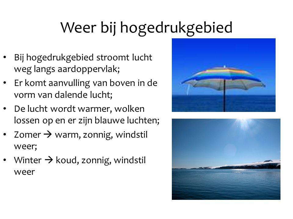 Weer bij hogedrukgebied Bij hogedrukgebied stroomt lucht weg langs aardoppervlak; Er komt aanvulling van boven in de vorm van dalende lucht; De lucht