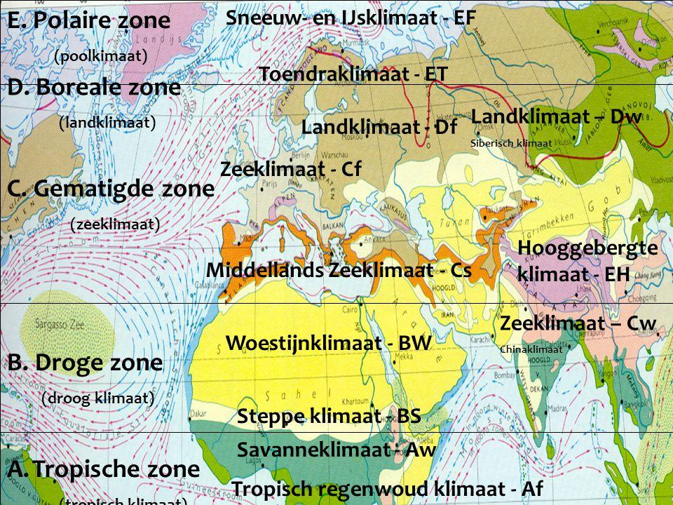 A.Tropische zone (tropisch klimaat) B. Droge zone (droog klimaat) C. Gematigde zone (zeeklimaat) E. Polaire zone (poolkimaat) Tropisch regenwoud klima