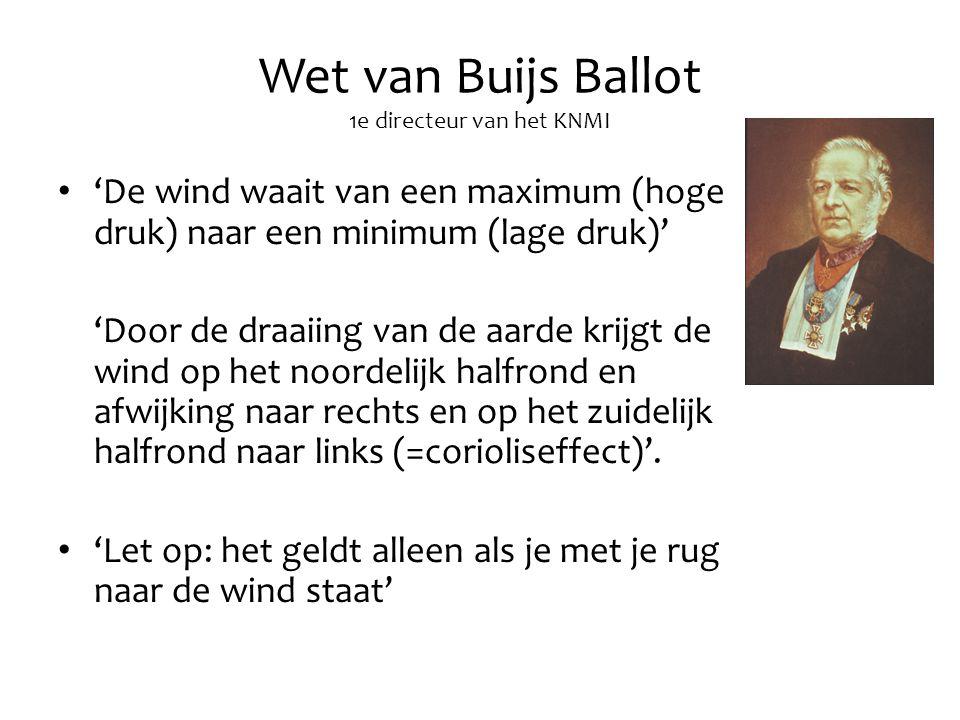 Wet van Buijs Ballot 1e directeur van het KNMI 'De wind waait van een maximum (hoge druk) naar een minimum (lage druk)' 'Door de draaiing van de aarde