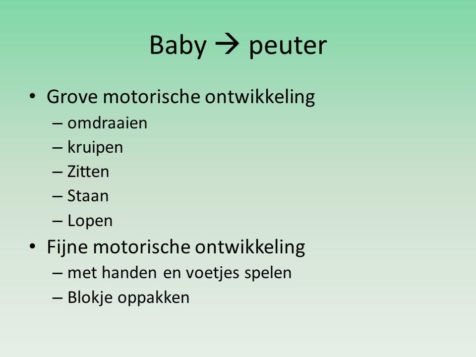 Baby  peuter Grove motorische ontwikkeling – omdraaien – kruipen – Zitten – Staan – Lopen Fijne motorische ontwikkeling – met handen en voetjes spele