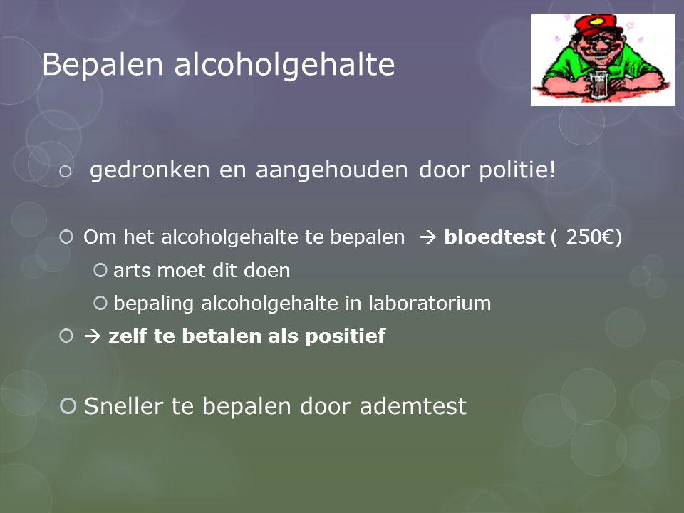 Bepalen alcoholgehalte  gedronken en aangehouden door politie.