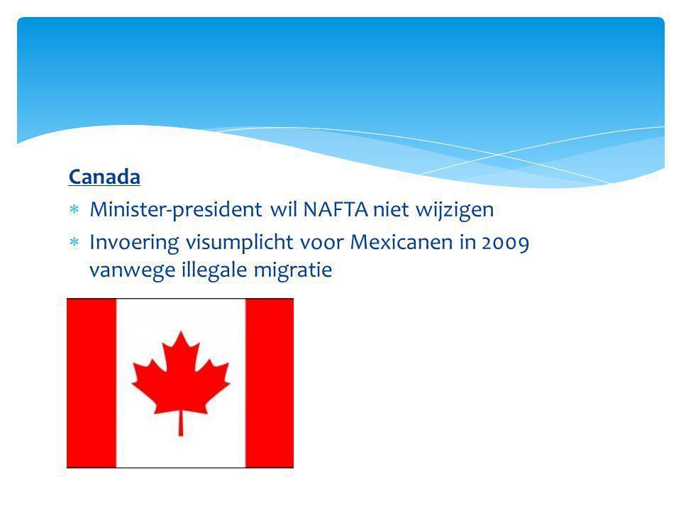 Canada  Minister-president wil NAFTA niet wijzigen  Invoering visumplicht voor Mexicanen in 2009 vanwege illegale migratie