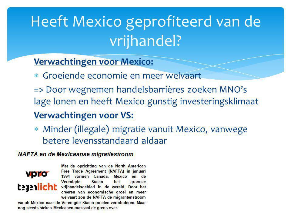 Verwachtingen voor Mexico:  Groeiende economie en meer welvaart => Door wegnemen handelsbarrières zoeken MNO's lage lonen en heeft Mexico gunstig inv