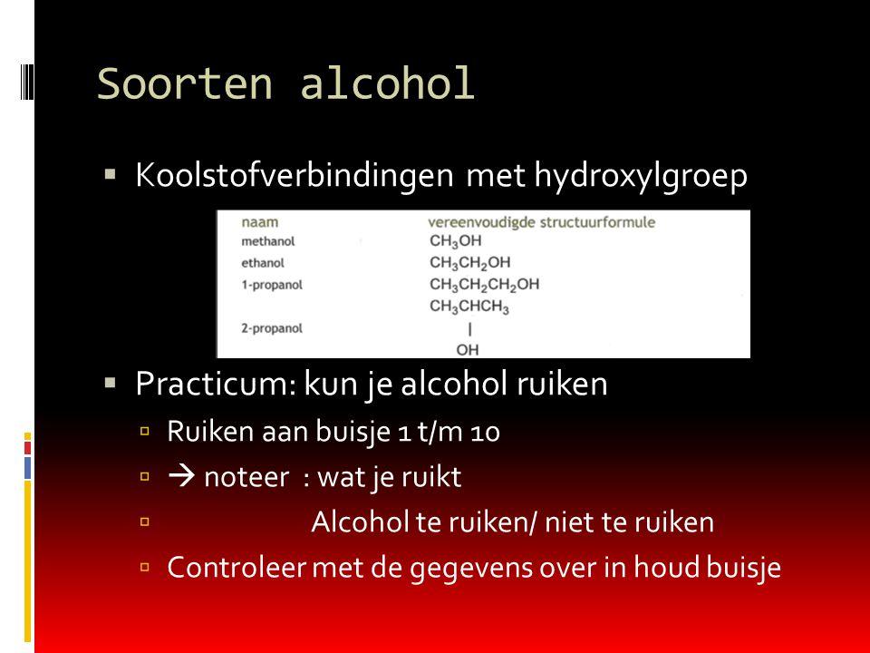 Soorten alcohol  Koolstofverbindingen met hydroxylgroep  Practicum: kun je alcohol ruiken  Ruiken aan buisje 1 t/m 10   noteer : wat je ruikt  Alcohol te ruiken/ niet te ruiken  Controleer met de gegevens over in houd buisje