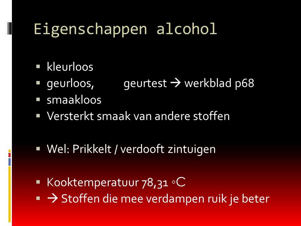 Giftigheid van alcohol  In zuivere vorm giftig  Oneven aantal C- atomen giftiger dan even aantal C- atomen