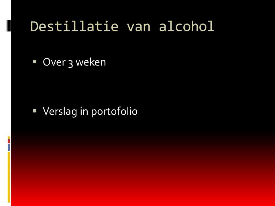 Destillatie van alcohol  Over 3 weken  Verslag in portofolio