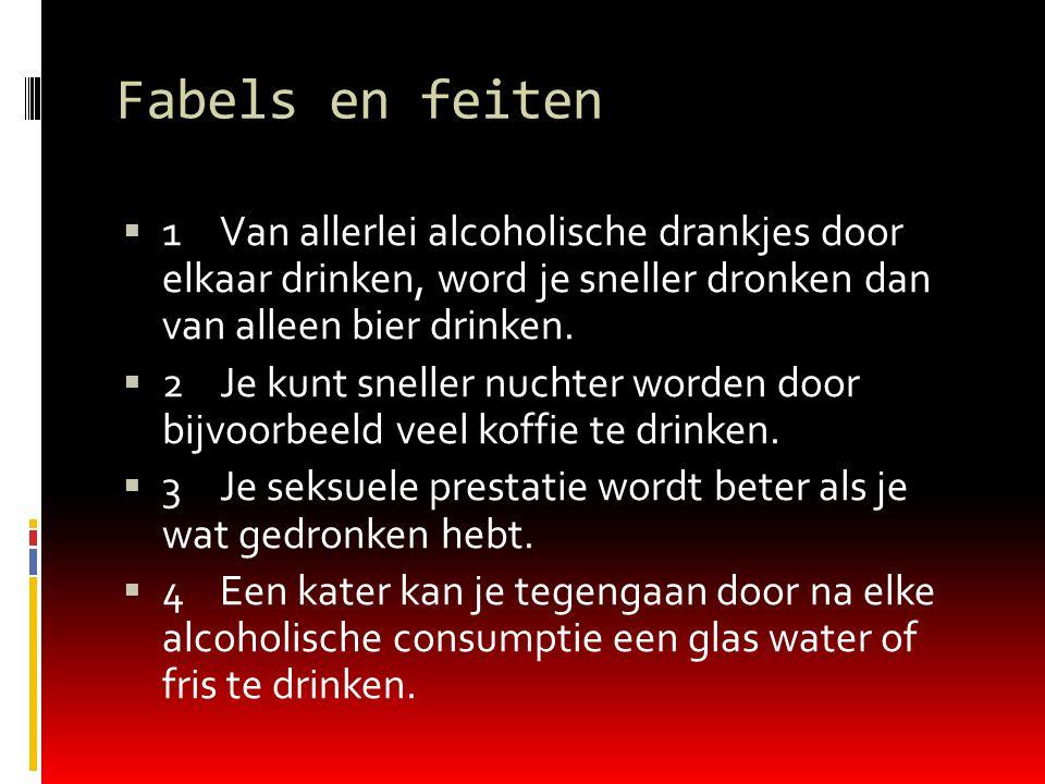 Fabels en feiten  1Van allerlei alcoholische drankjes door elkaar drinken, word je sneller dronken dan van alleen bier drinken.