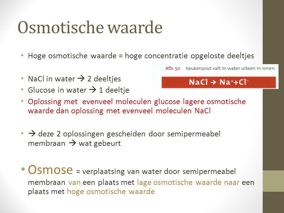 Osmotische waarde Hoge osmotische waarde = hoge concentratie opgeloste deeltjes NaCl in water  2 deeltjes Glucose in water  1 deeltje Oplossing met
