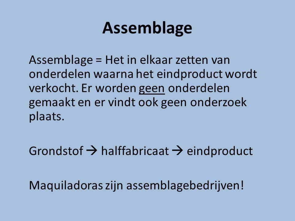 Assemblage Assemblage = Het in elkaar zetten van onderdelen waarna het eindproduct wordt verkocht. Er worden geen onderdelen gemaakt en er vindt ook g