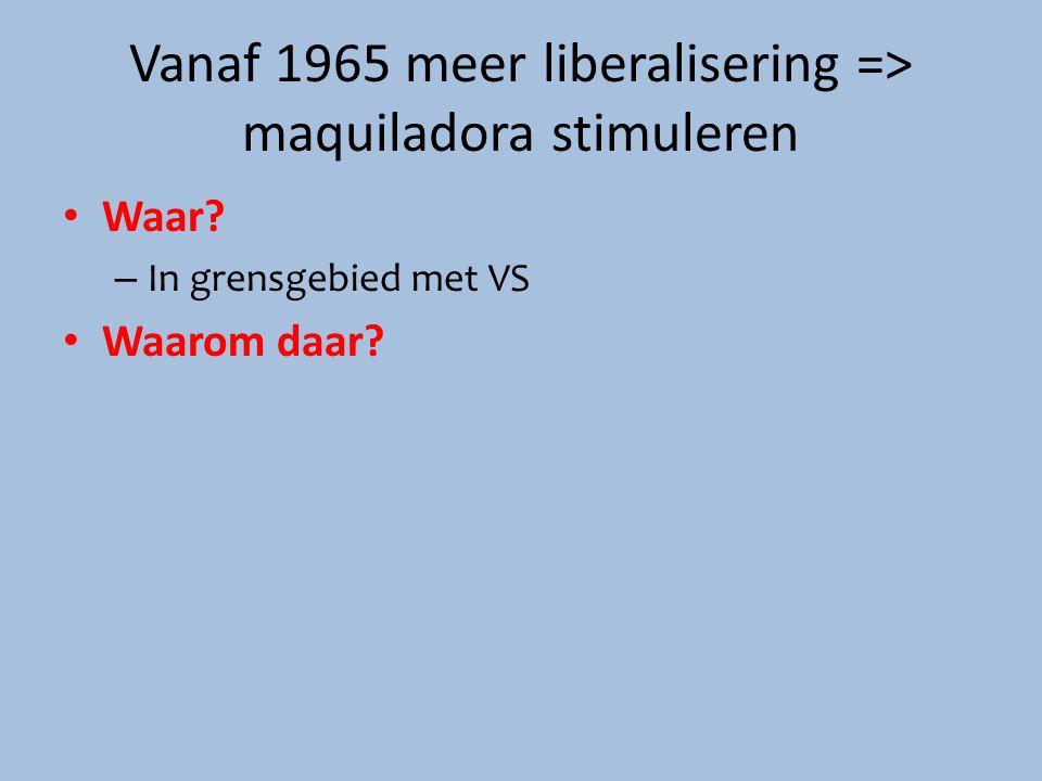 Vanaf 1965 meer liberalisering => maquiladora stimuleren Waar? – In grensgebied met VS Waarom daar?