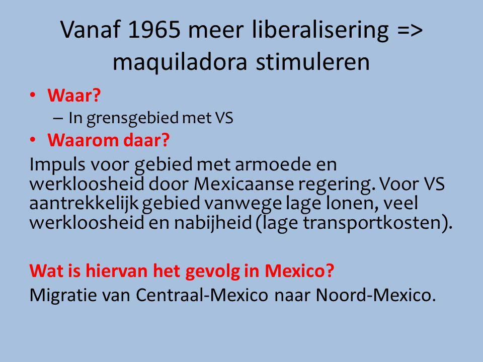Vanaf 1965 meer liberalisering => maquiladora stimuleren Waar? – In grensgebied met VS Waarom daar? Impuls voor gebied met armoede en werkloosheid doo