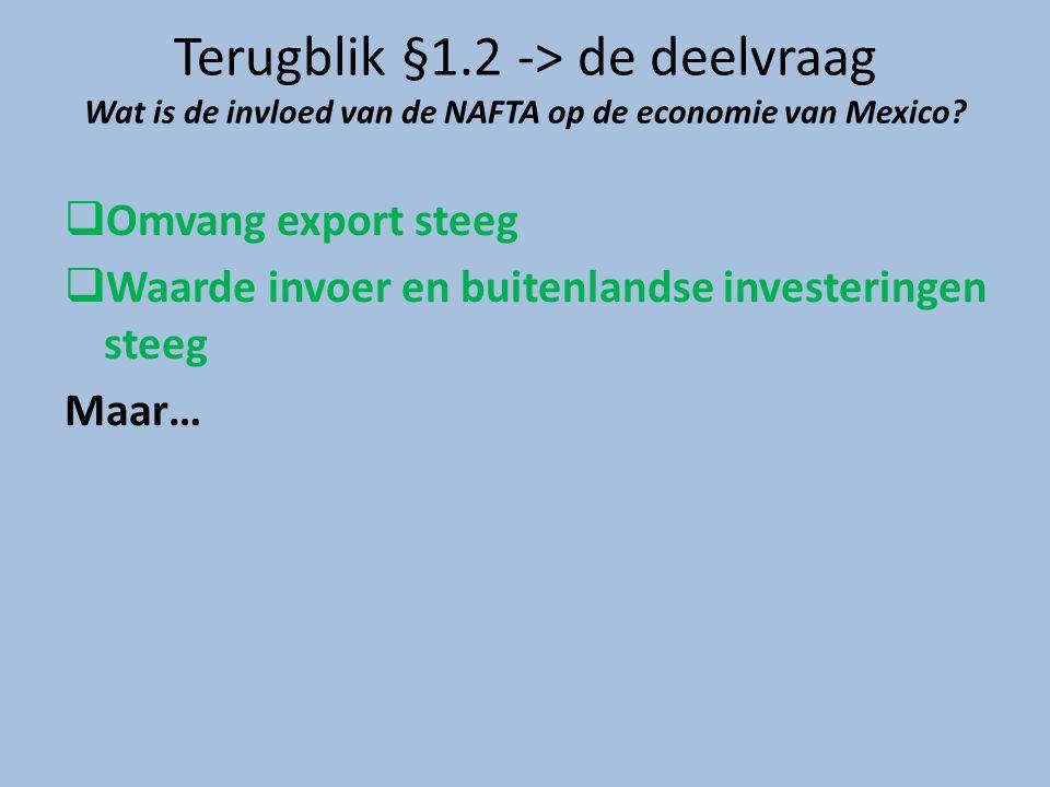 Terugblik §1.2 -> de deelvraag Wat is de invloed van de NAFTA op de economie van Mexico?  Omvang export steeg  Waarde invoer en buitenlandse investe
