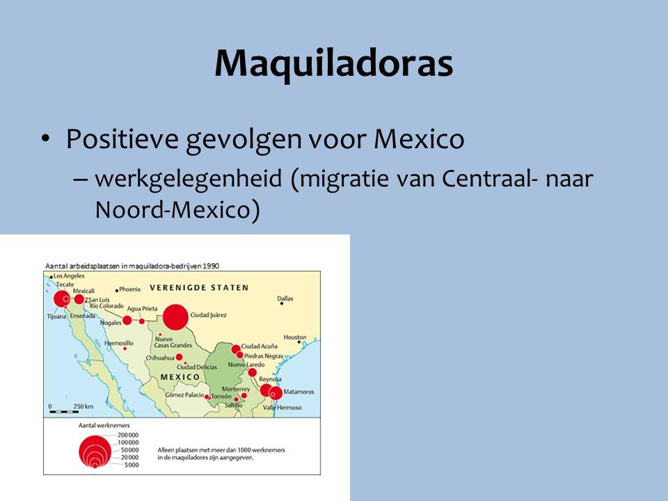 Maquiladoras Positieve gevolgen voor Mexico – werkgelegenheid (migratie van Centraal- naar Noord-Mexico)