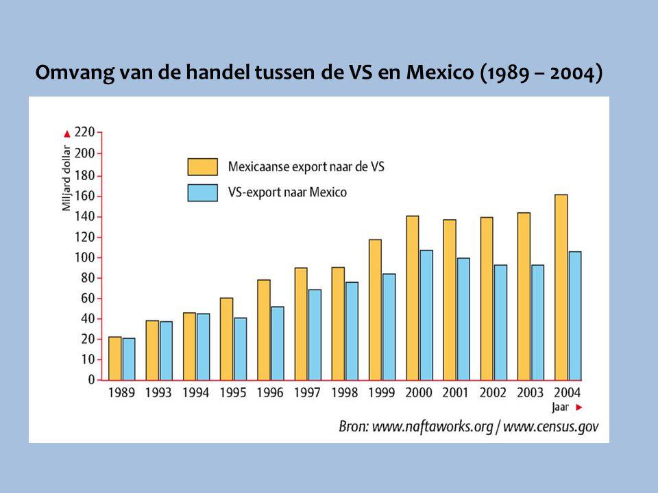 Omvang van de handel tussen de VS en Mexico (1989 – 2004)