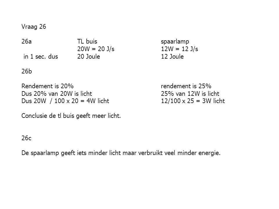 Vraag 26 26a TL buisspaarlamp 20W = 20 J/s12W = 12 J/s in 1 sec.