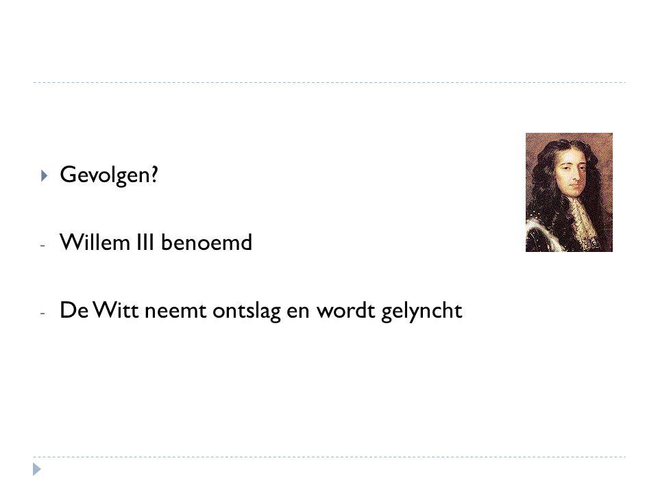  Gevolgen? - Willem III benoemd - De Witt neemt ontslag en wordt gelyncht