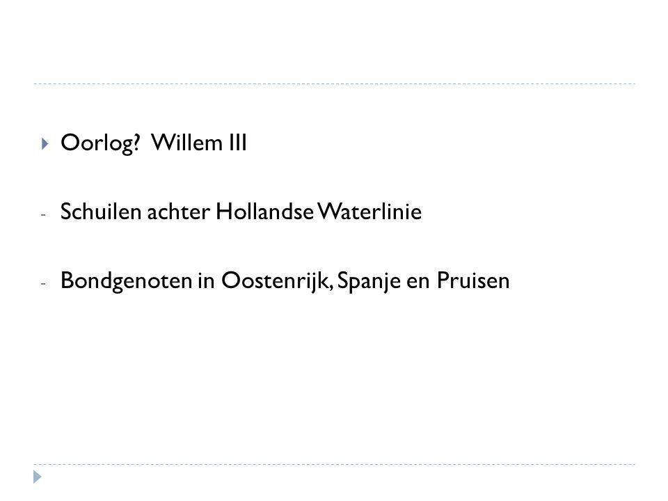  Oorlog? Willem III - Schuilen achter Hollandse Waterlinie - Bondgenoten in Oostenrijk, Spanje en Pruisen