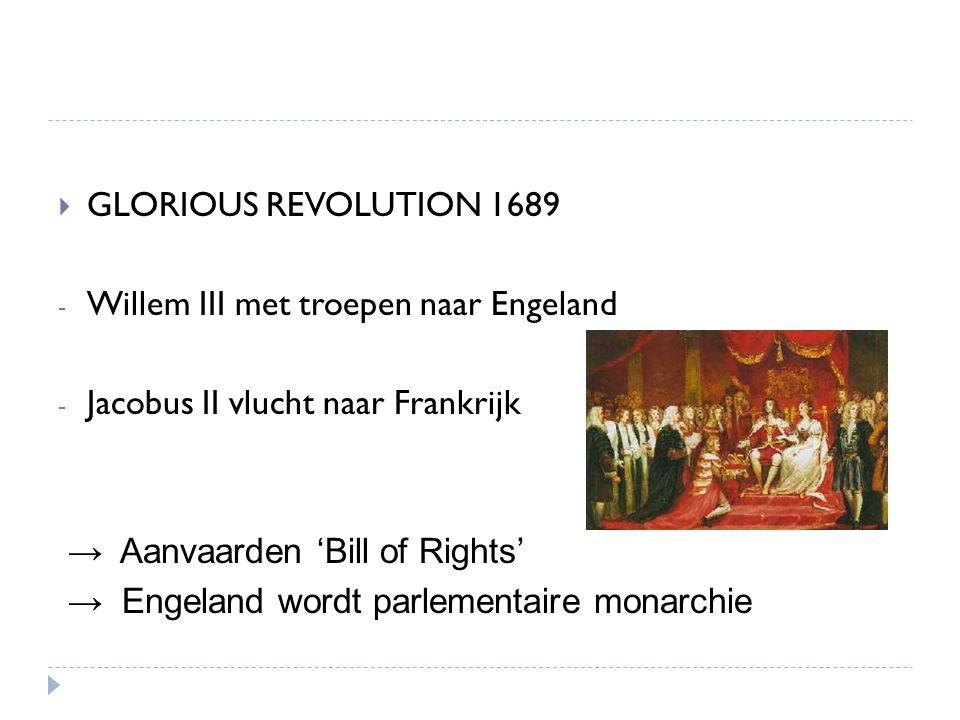  GLORIOUS REVOLUTION 1689 - Willem III met troepen naar Engeland - Jacobus II vlucht naar Frankrijk → Aanvaarden 'Bill of Rights' → Engeland wordt pa