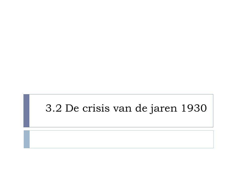 De economie stort in  1928: Amerikanen veruit het rijkste volk  1929: Al twijfel of aandelen niet te duur waren  Zwarte donderdag – 24 oktober 1929 → De beurs stort volledig in
