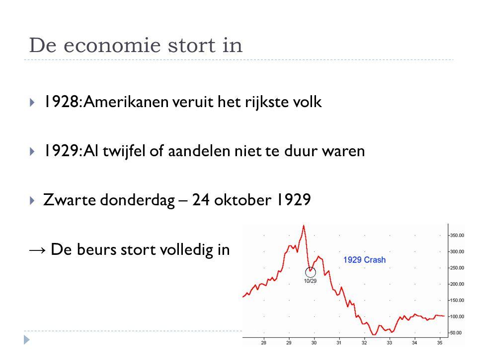 De economie stort in  1928: Amerikanen veruit het rijkste volk  1929: Al twijfel of aandelen niet te duur waren  Zwarte donderdag – 24 oktober 1929