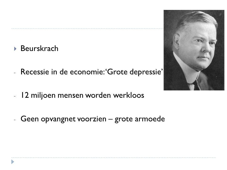  Beurskrach - Recessie in de economie: 'Grote depressie' - 12 miljoen mensen worden werkloos - Geen opvangnet voorzien – grote armoede