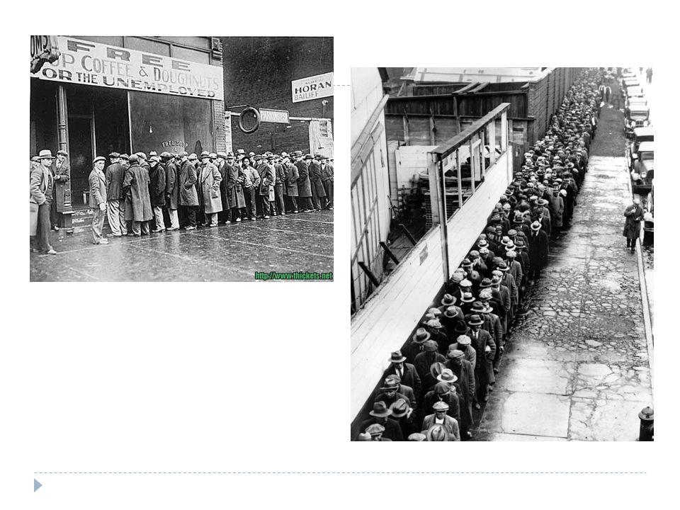 Oorzaken van de Grote Depressie  Overproductie: er was te veel geproduceerd  Geleend geld kan niet terugbetaald worden  Textielindustrie, spoorwegen en mijnbouw draaiden al jaren slecht  Overproductie in de landbouw na WO I