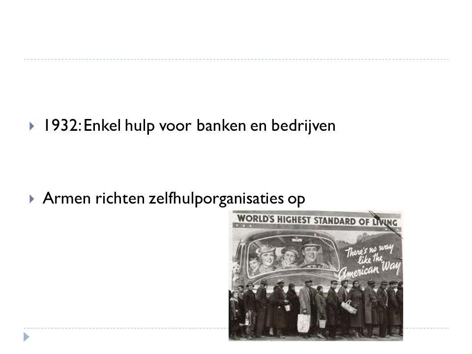  1932: Enkel hulp voor banken en bedrijven  Armen richten zelfhulporganisaties op